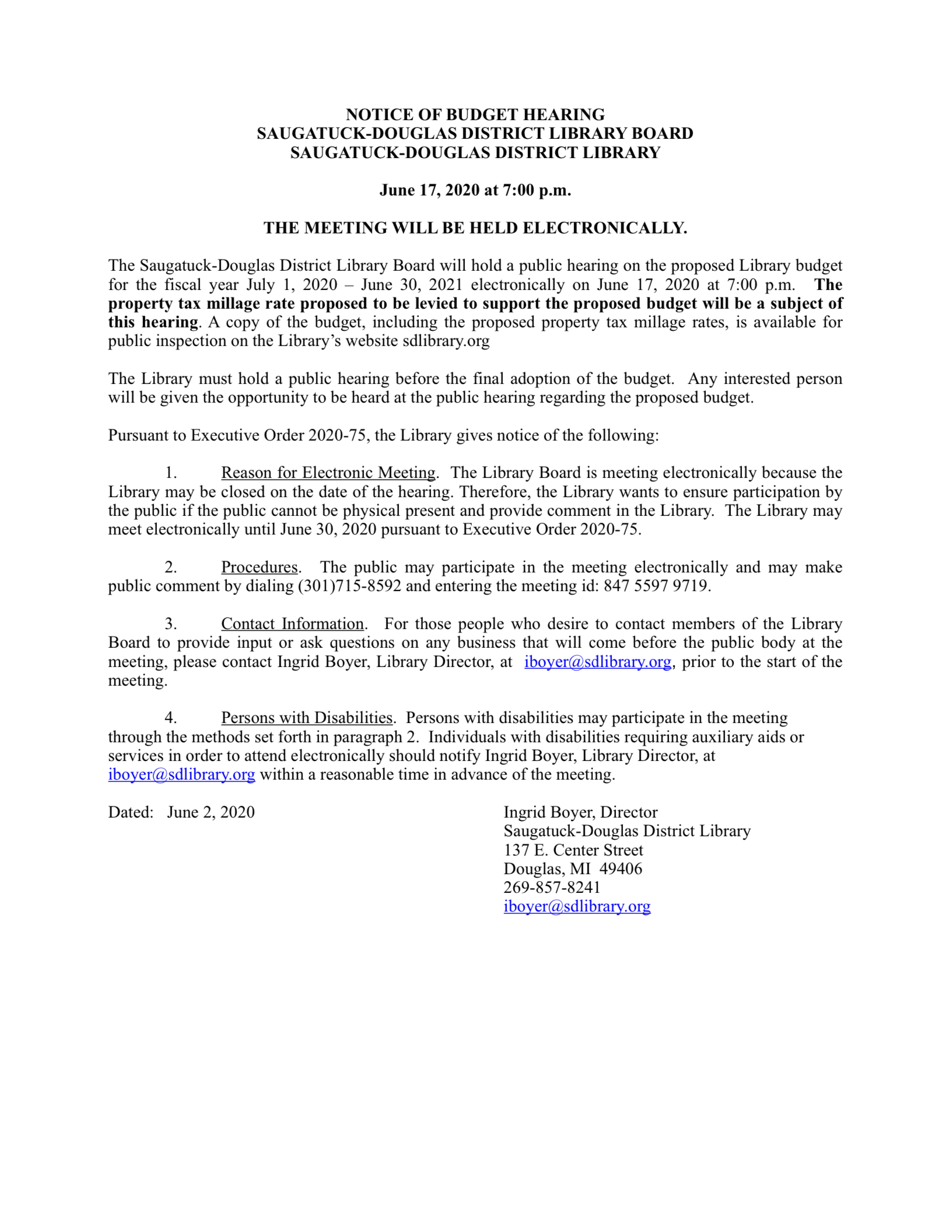 Notice of Budget Hearing 2020-21